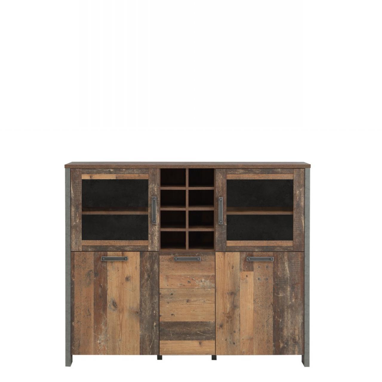 Highboardvitrine Clif 5 Türen Old Wood Vintage Nb. Betonoptik Dunkelgrau MDF