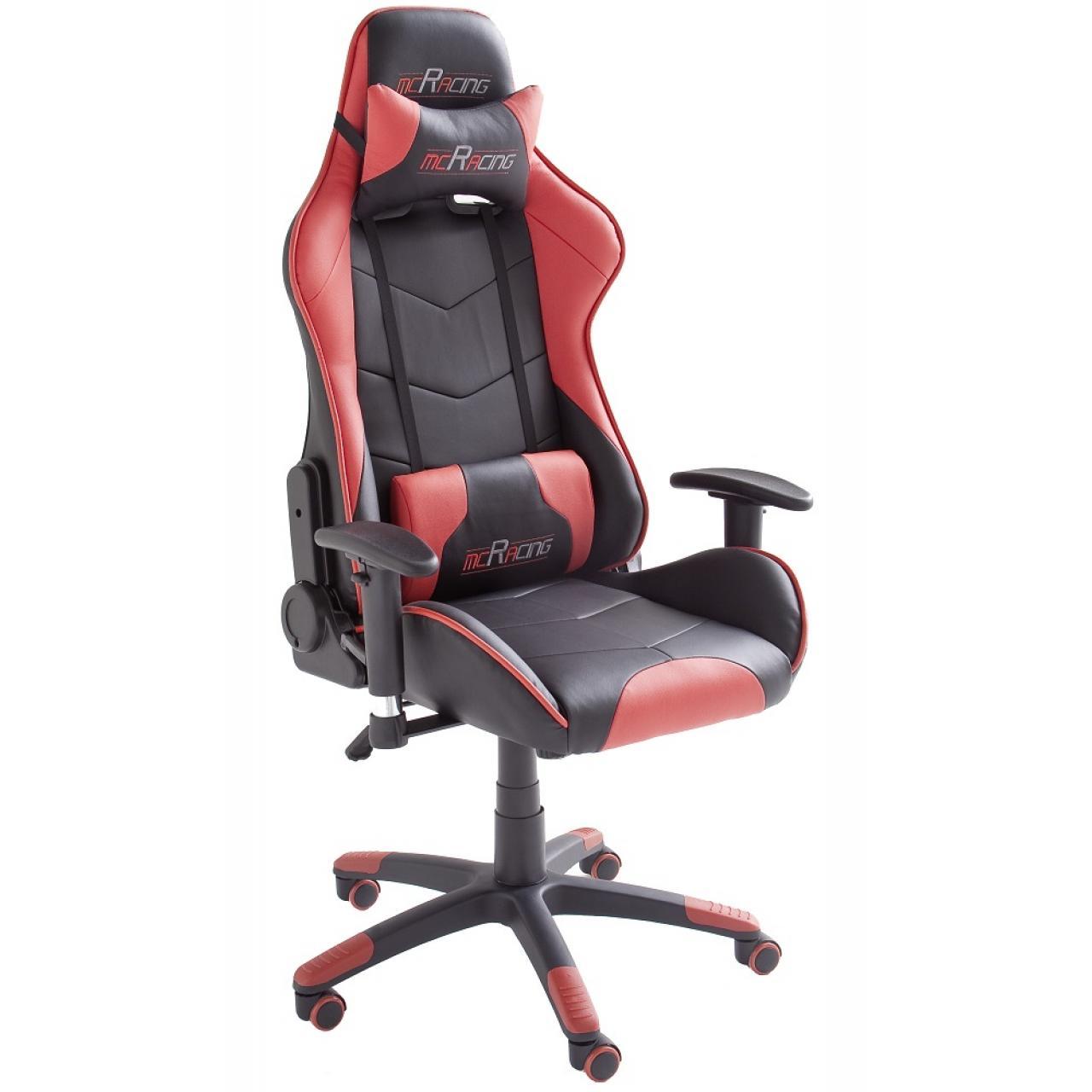 Gamingstuhl mcRacing 5 Schwarz Rot mit Armlehnen Bürostuhl Drehstuhl Gaslift Büro Stuhl
