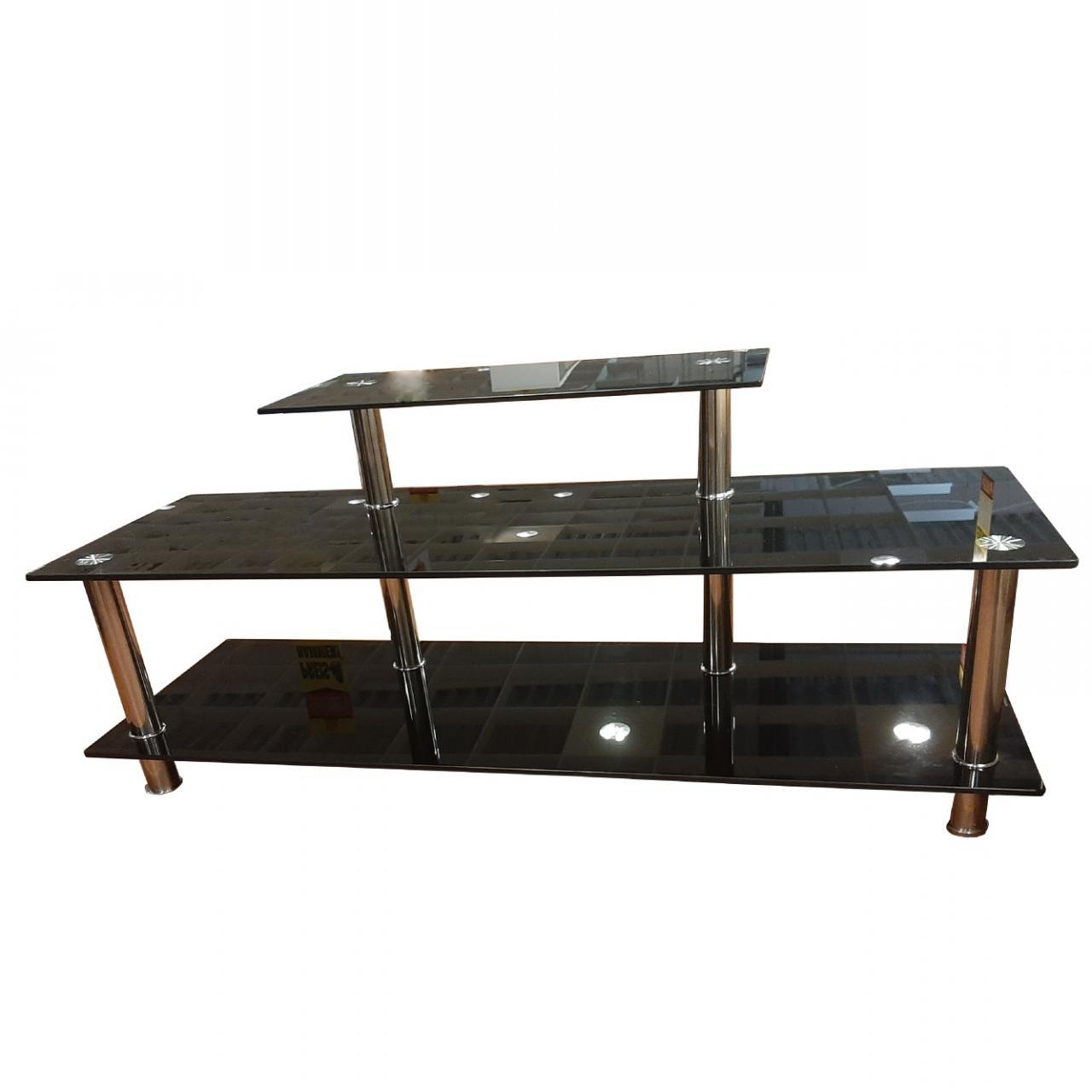 Phonotisch 152022 Fernsehtisch Schwarz Chrom Lowboard Metall Glas TV-Tisch