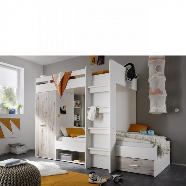 Hochbett Maxi Kinderbett Etagenbett Bettgestell 90x200 Leiter Schubkasten Weiß, Sandeiche