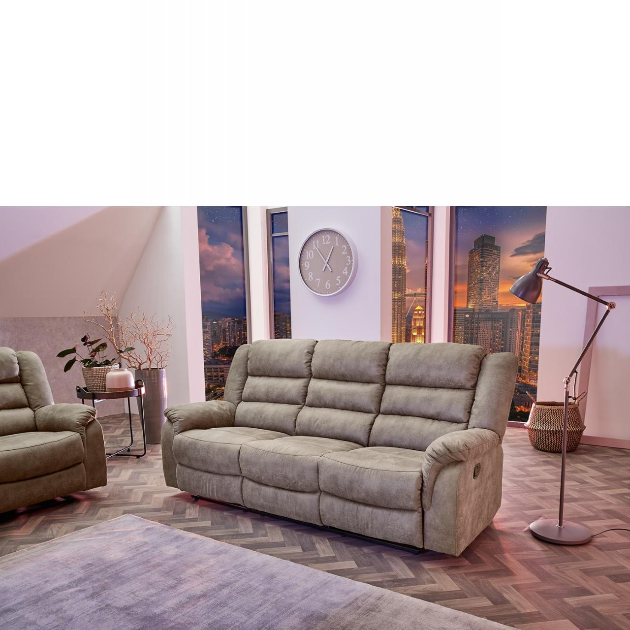 3er Sofa Cleveland 3 in Vintage grau-braun