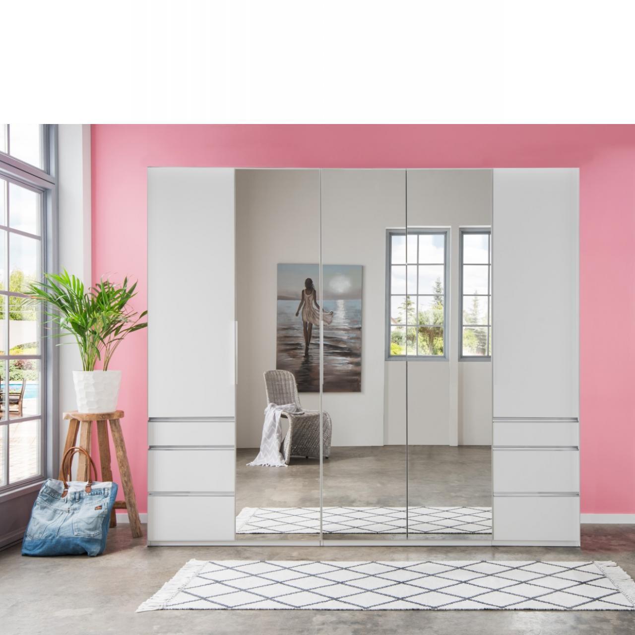 Kleiderschrank Everly in weiß mit 3 Spiegeln