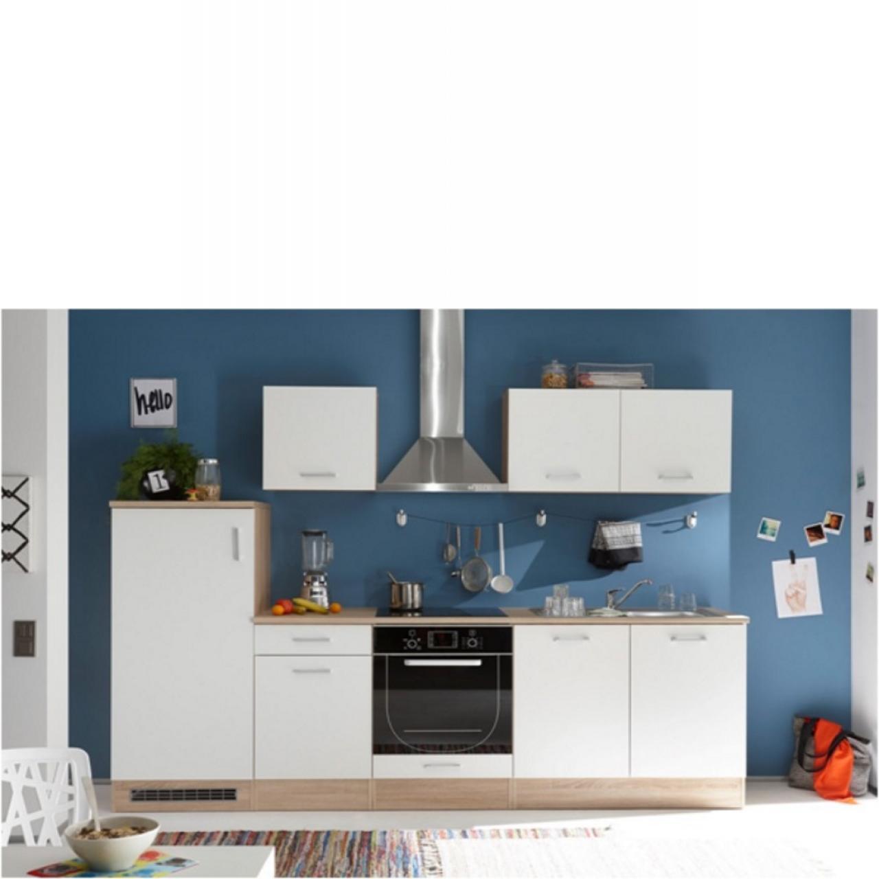 Küche Welcome Andy in Sonoma Eiche / Weiß, Singleküche, Küchenzeile, ohne Geräte