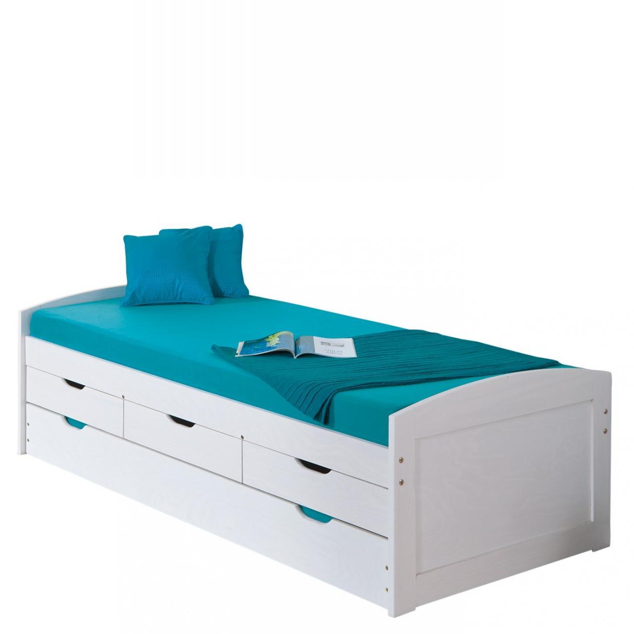 Funktionsbett Ulli Massivholz Weiß Lackiert Ausziehbar Zwei Schlafmöglichkeiten