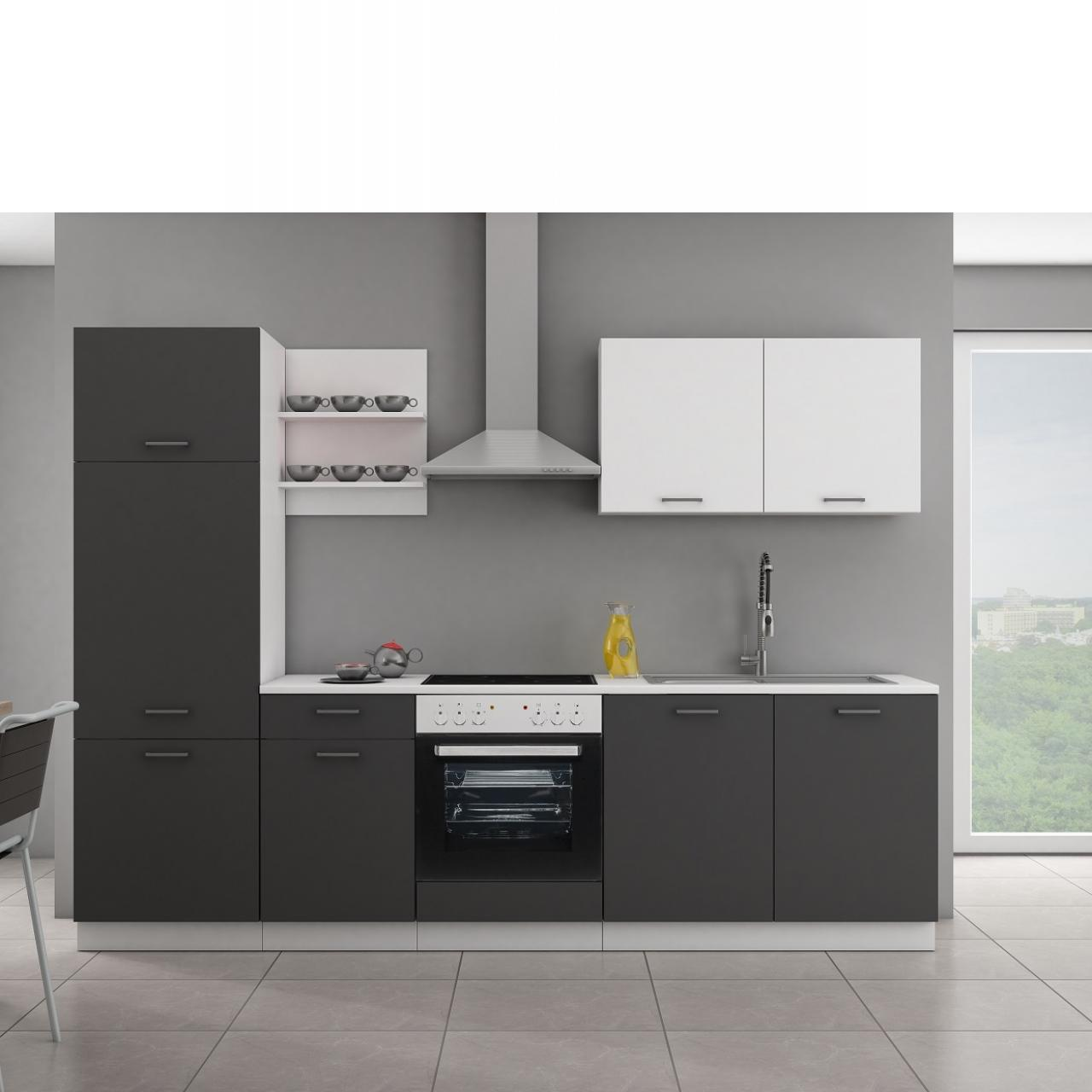 Küche Promo Grau Matt Weiß Matt Küchenzeile Küchenblock Single-Küche  Spanplatte