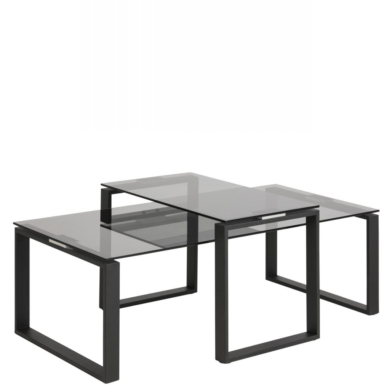 2 Satz Couchtisch Katrine 18915 Glas Metall Stubentisch Tisch Beistelltisch