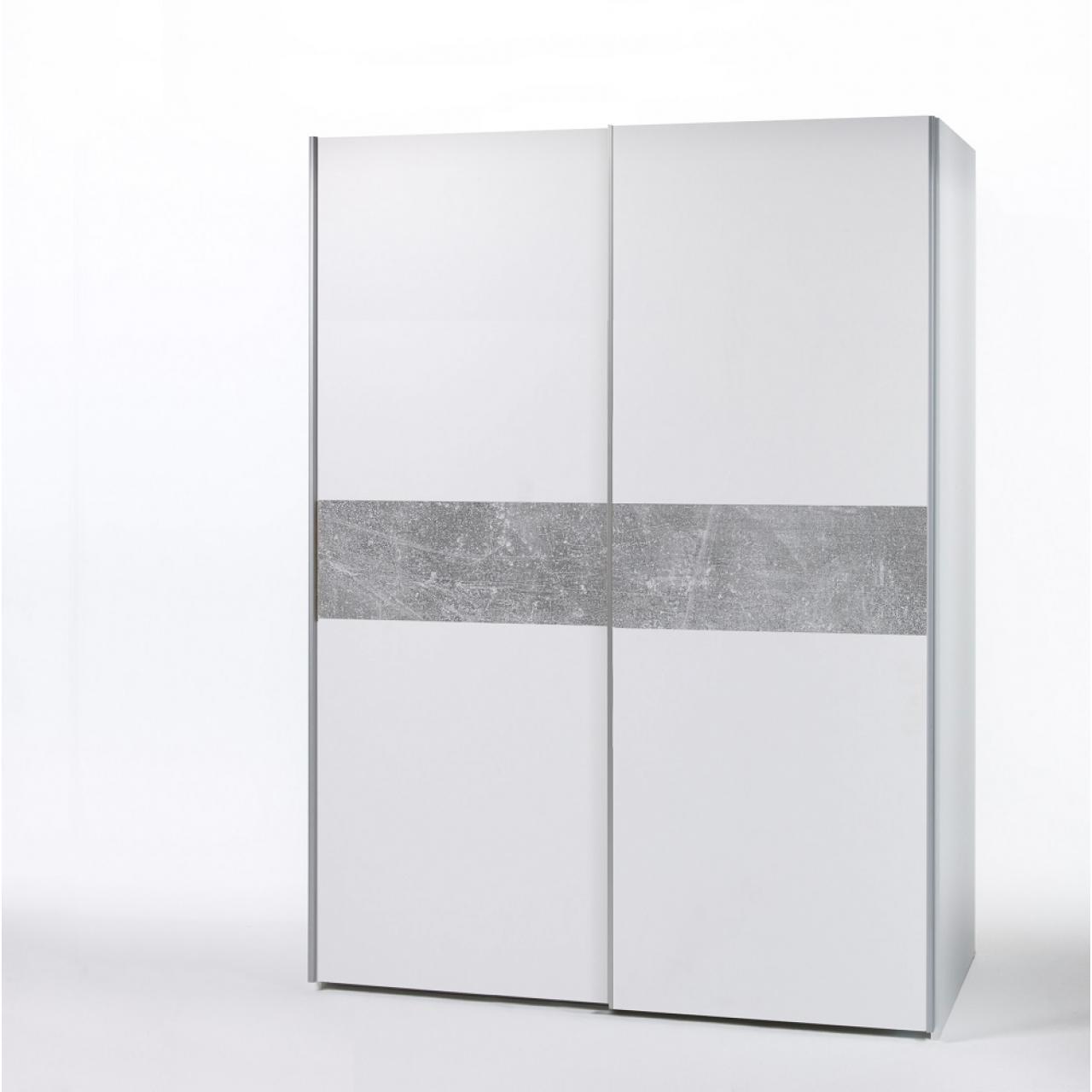 Schwebetürenschrank Puls 2-türig Weiß Beton MDF Dekorfolie Kleiderschrank