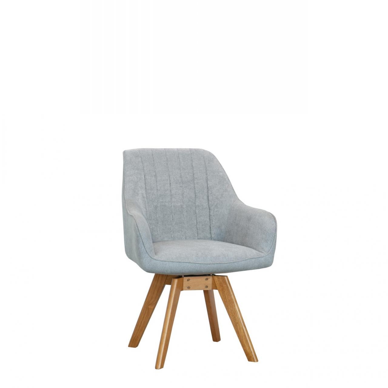 Stuhl ST-0160 Hellgrau Natur Massivholz Eiche Stoff Esszimmerstuhl Küche
