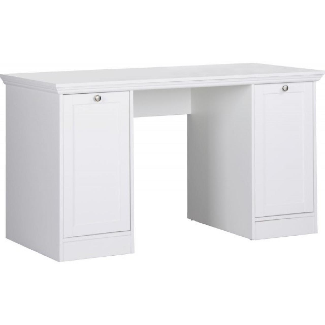 Schreibtisch Landwood Weiß 2 Türen Büro Arbeitszimmer Computertisch Tisch MDF