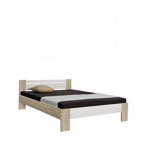 Futonbett Vega Eiche Sonoma Weiß Bett Matratze Rollrost 140x200 cm Bettgestell