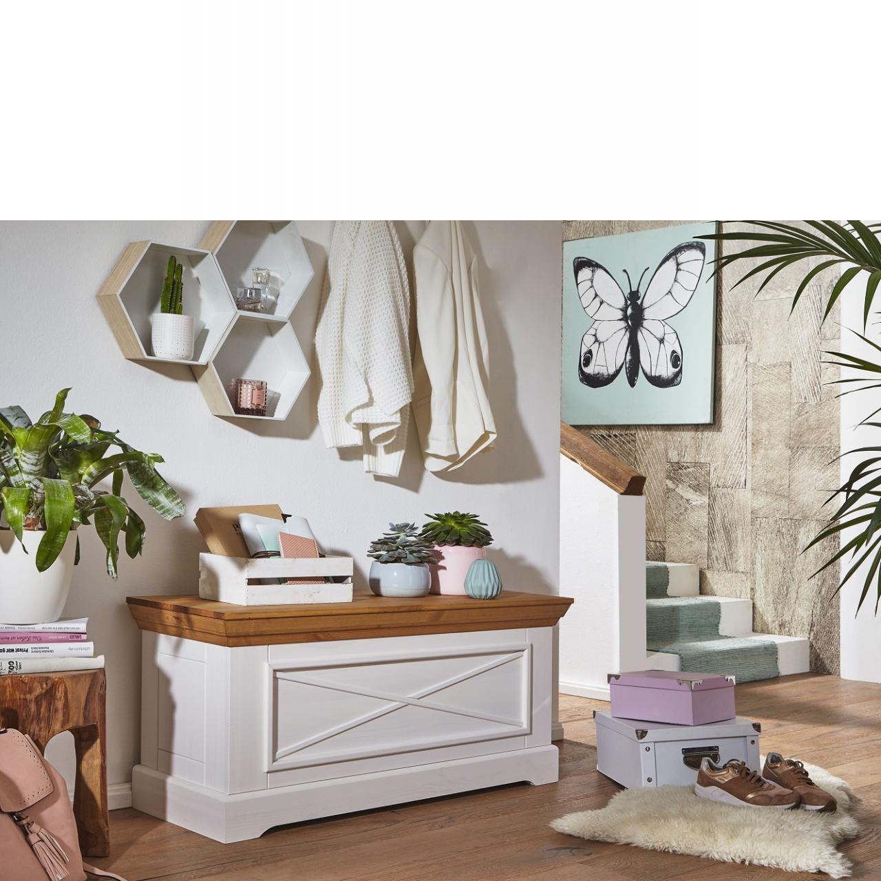 Truhe WZ-0133 weiß Kiefer massiv eiche Kiste Flur Wohnzimmer Schlafzimmer