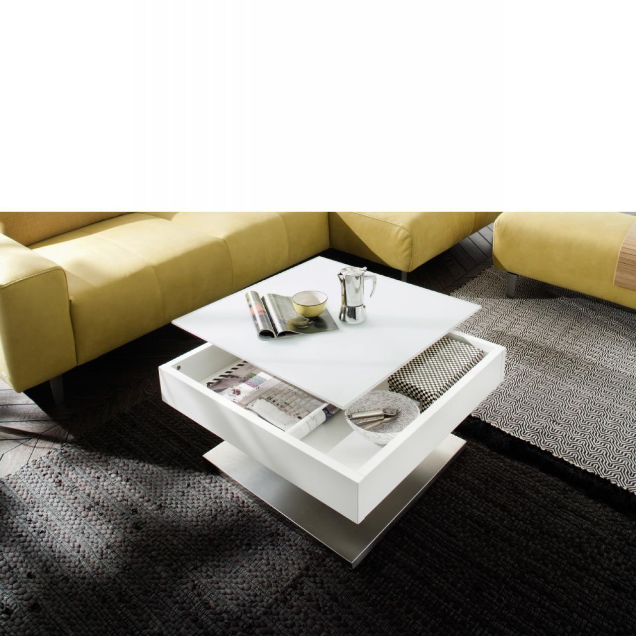 Couchtisch Mariko Edelstahloptik drehbare Glasplatte