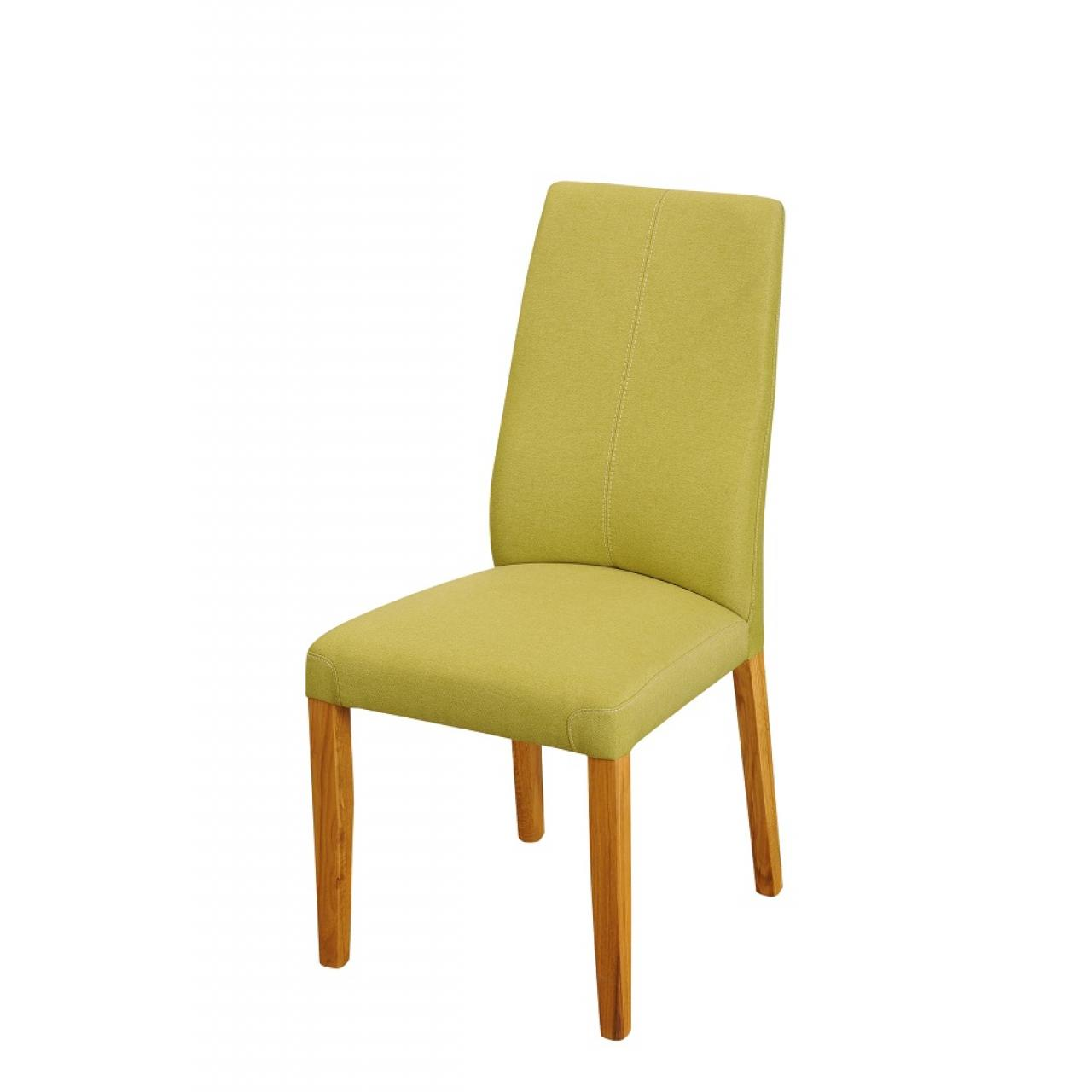 Stuhl 130 E6 Stoff Grün Natur Massivholz Stoff Esszimmerstuhl Küche