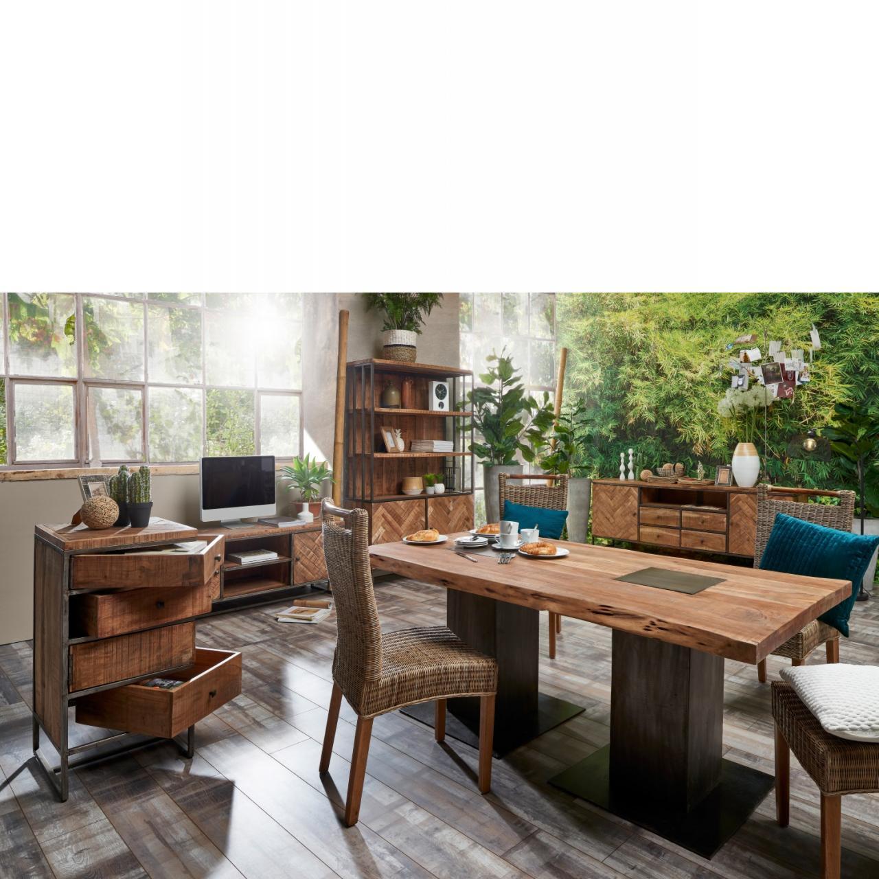 Esstisch Live Edge 6739 Eisen Akazie Schwarz Hela Küchentisch Tisch