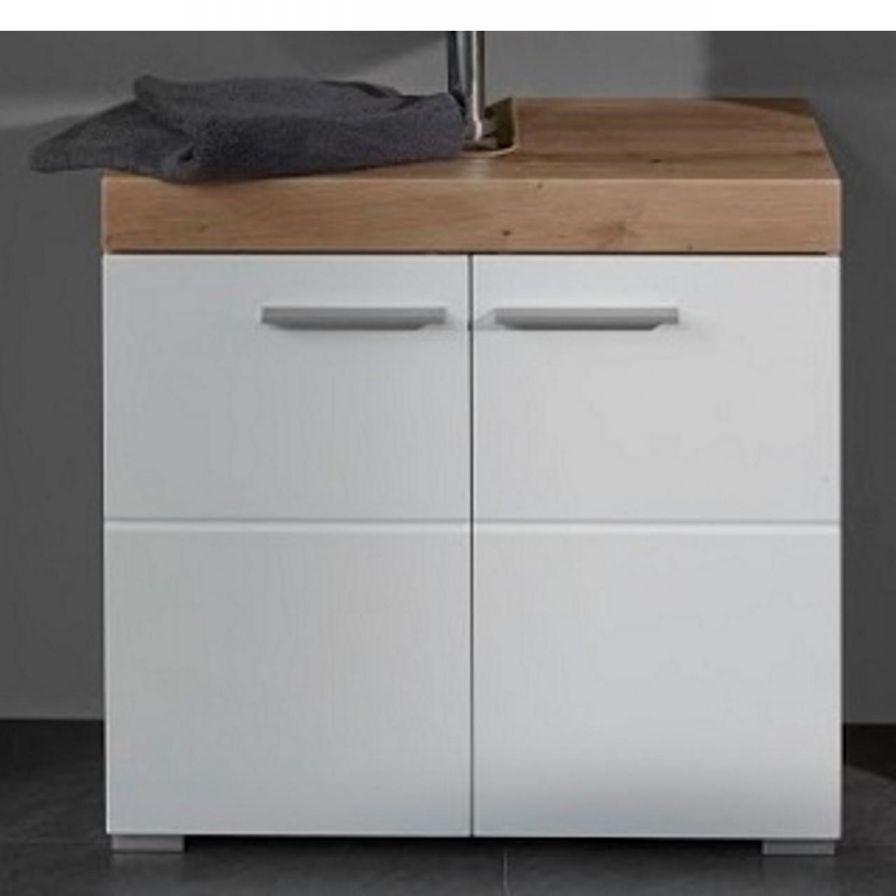 Waschbeckenunterschrank Amanda Weiß Hochglanz Asteiche Nb. 2 Türen 1 Boden