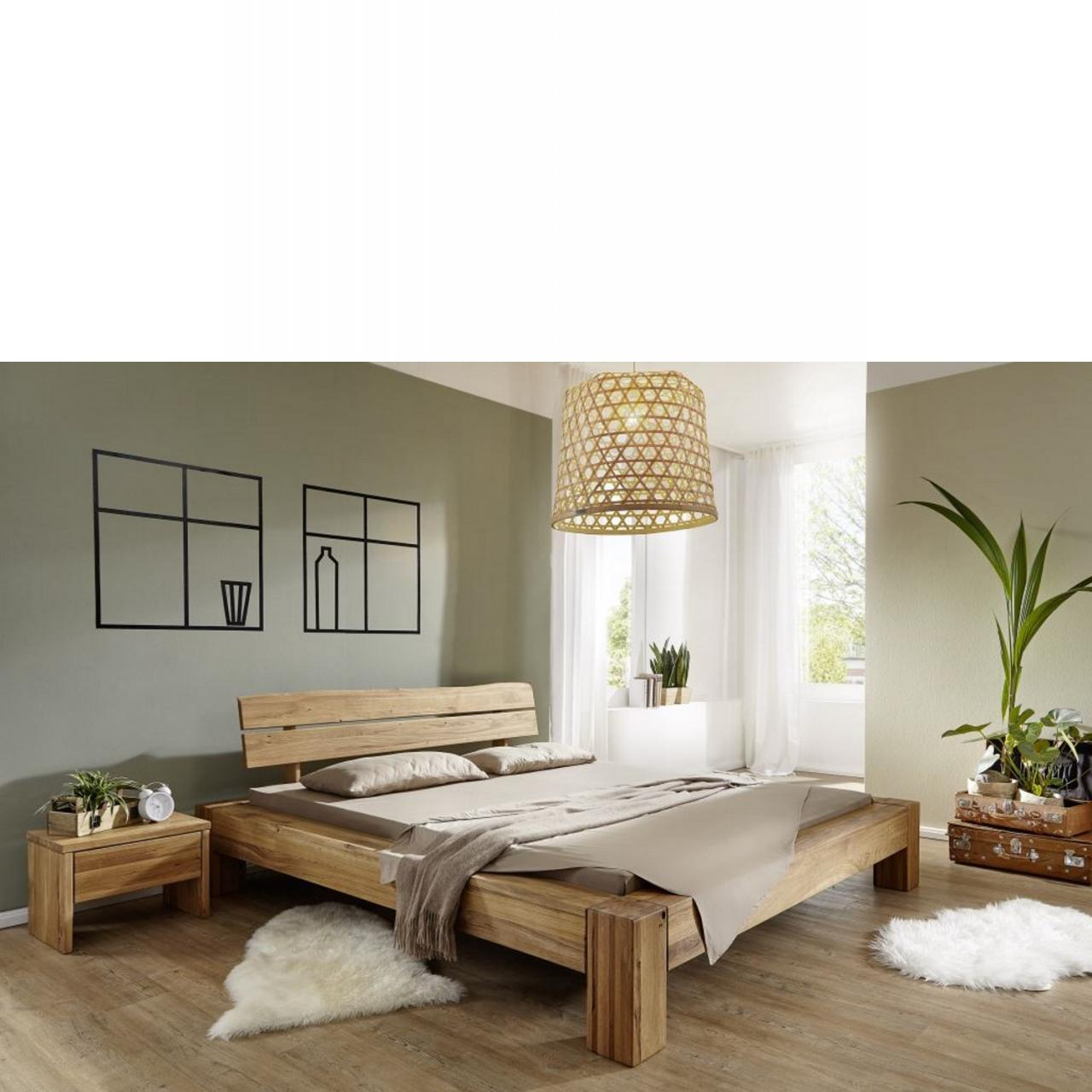 bett wildeiche massiv 140x200 cm mit kopfteil. Black Bedroom Furniture Sets. Home Design Ideas