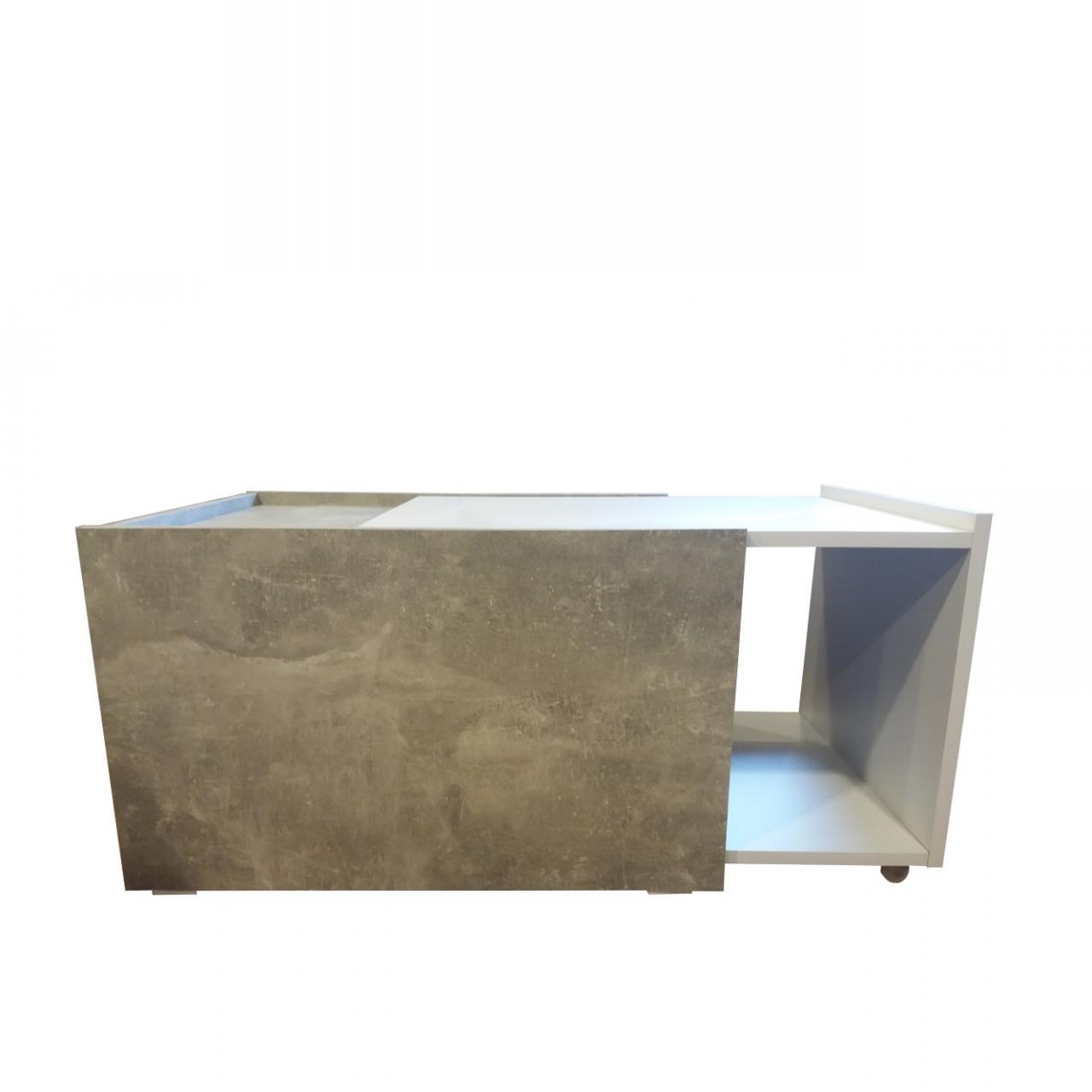 Couchtisch Universal Ausziehbar Beton Weiß Stubentisch Beistelltisch Tisch