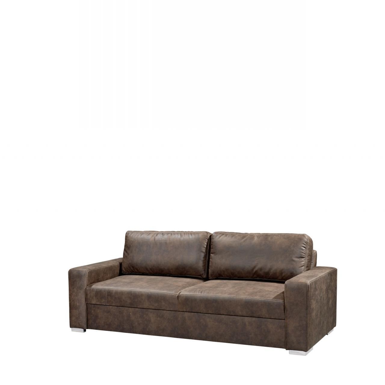 3er Sofa Regina Sofa Dunkelbraun Polstergarnitur Couch inkl. Rückenkissen