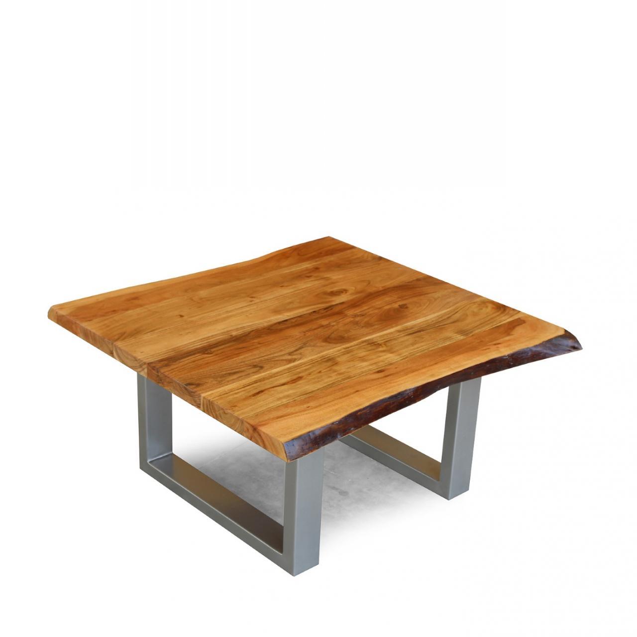 Couchtisch TI-40 Baumkante Eisen Akazie Massiv U-form Stubentisch Tisch