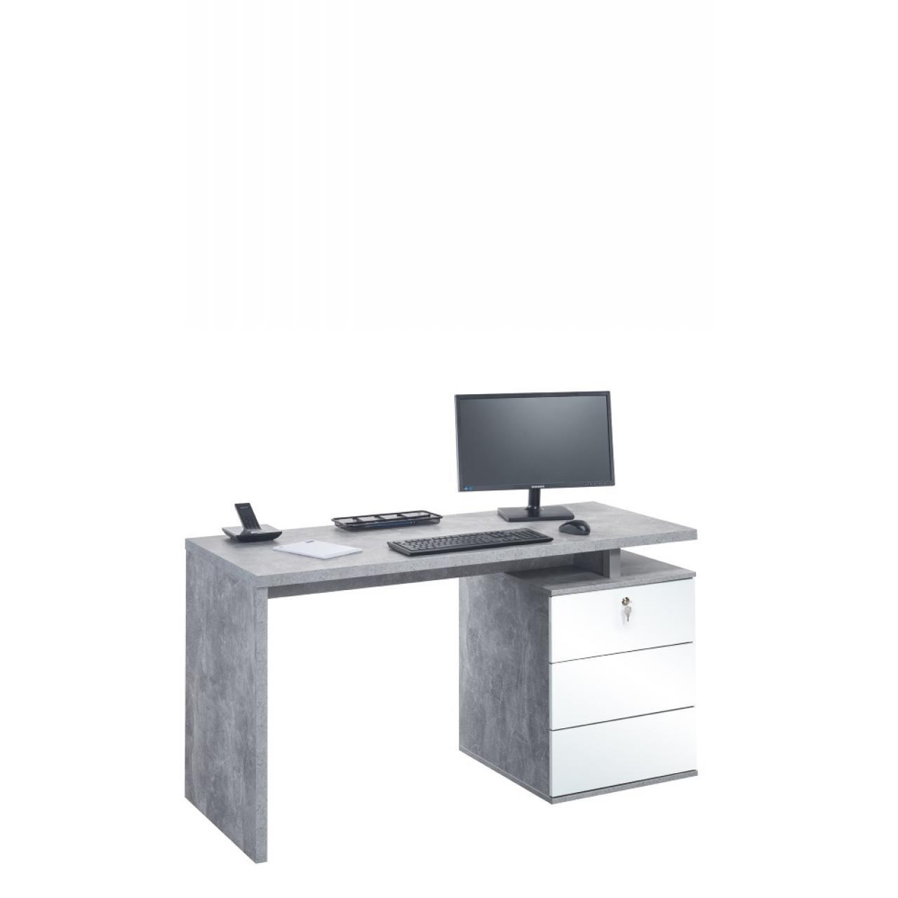 Schreib- und Computertisch Betonoptik/Weiß Hochglanz