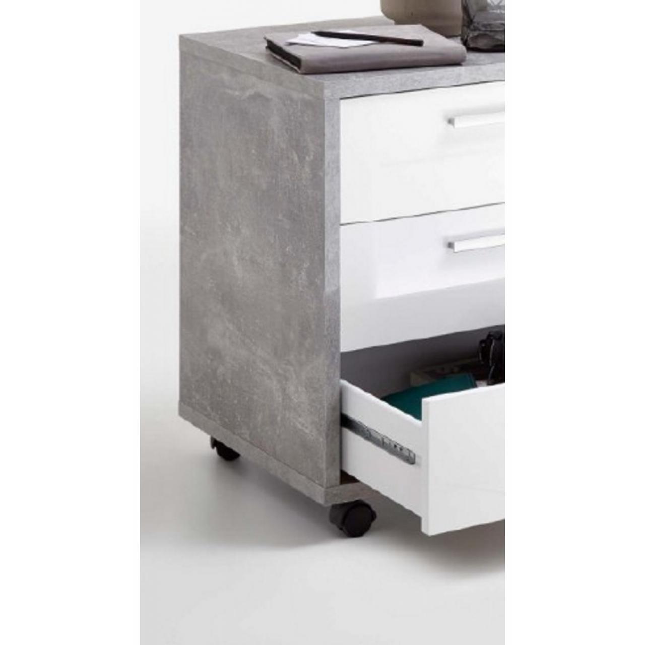 Rollcontainer Brick 2 | Beton - Weiß | Büromöbel | Möbel Jähnichen ...