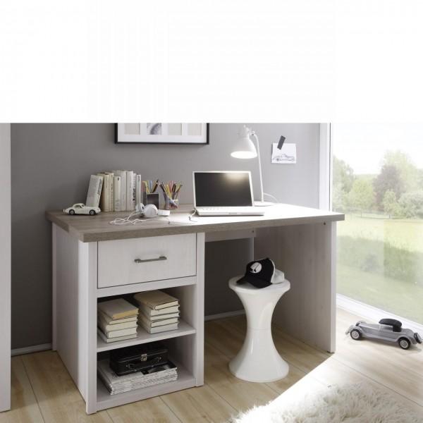 Schreibtisch Luca Computertisch Bürotisch Pinie Weiß Landhaus 2 Fächer 1 Schubkasten