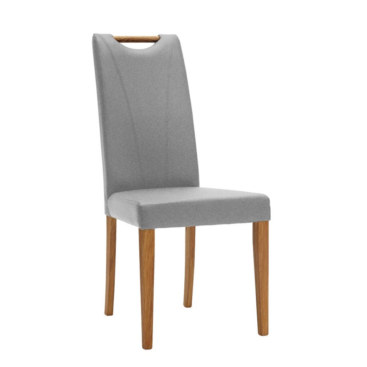 Stuhl 44 E6 Light Grey Stoff Massivholz Natur Esszimmerstuhl Küche