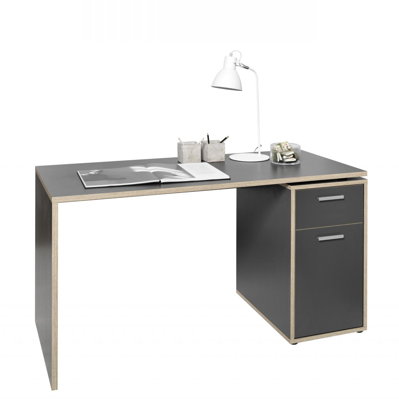 Schreibtisch net betonoptik 145x60 cm schreib for Schreibtisch net