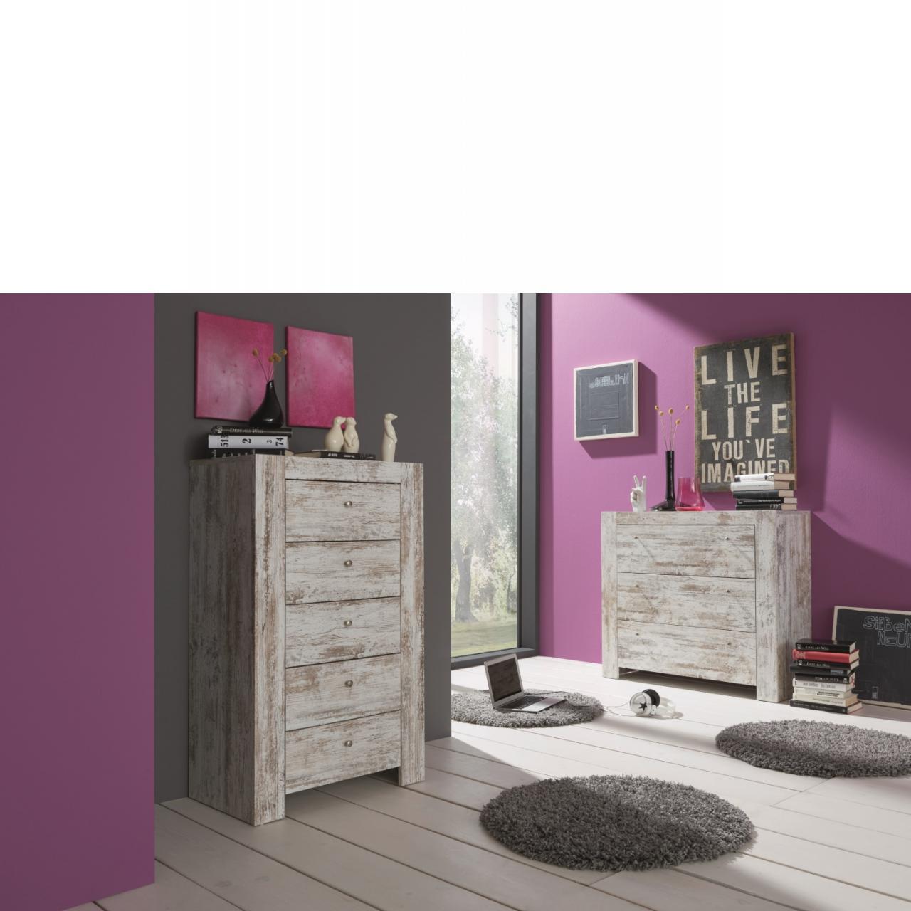 kommode im vintage look mit 5 schubk sten kommoden wohnzimmerm bel wohnen m bel. Black Bedroom Furniture Sets. Home Design Ideas
