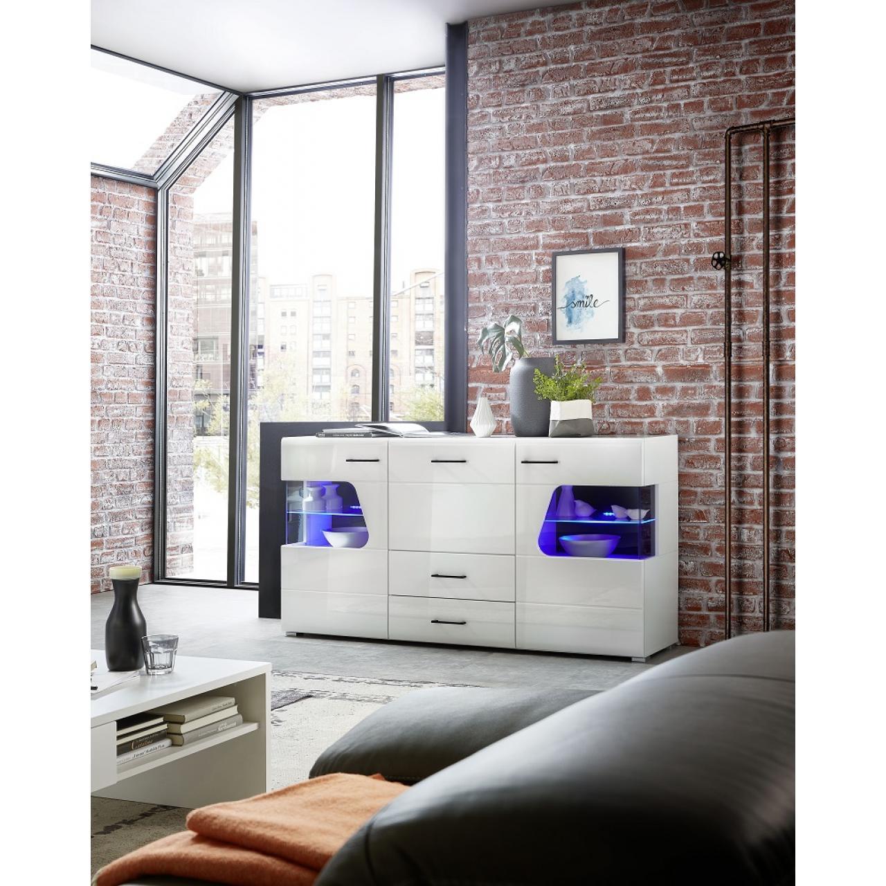Sidebaord Funny Plus Weiß Hochglanz inkl. LED-Beleuchtung 2 Türen 3 Schubkästen