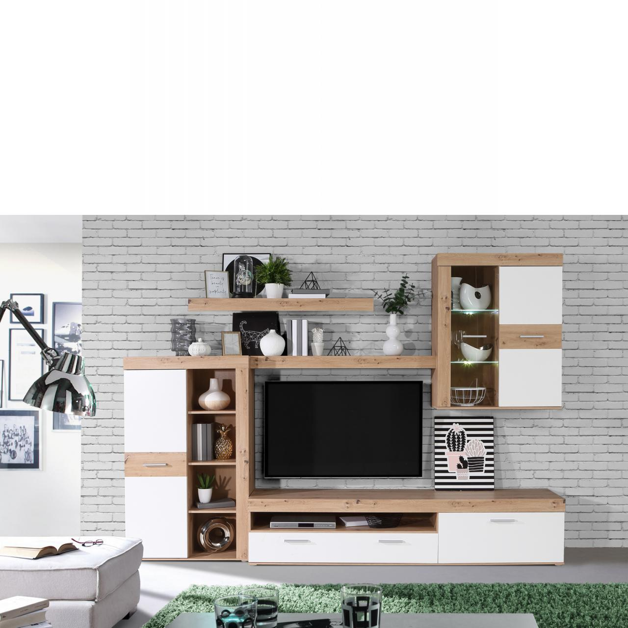 Wohnwand Atyzon Artisan Eiche weiß Wohnzimmer 5-tlg Anbauwand TV-Wohnlösung
