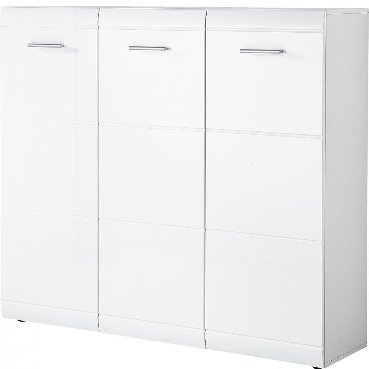 Schuhschrank Adana 3523 Weiß 3 Türen 10 Böden Garderobe Flur Diele Schrank