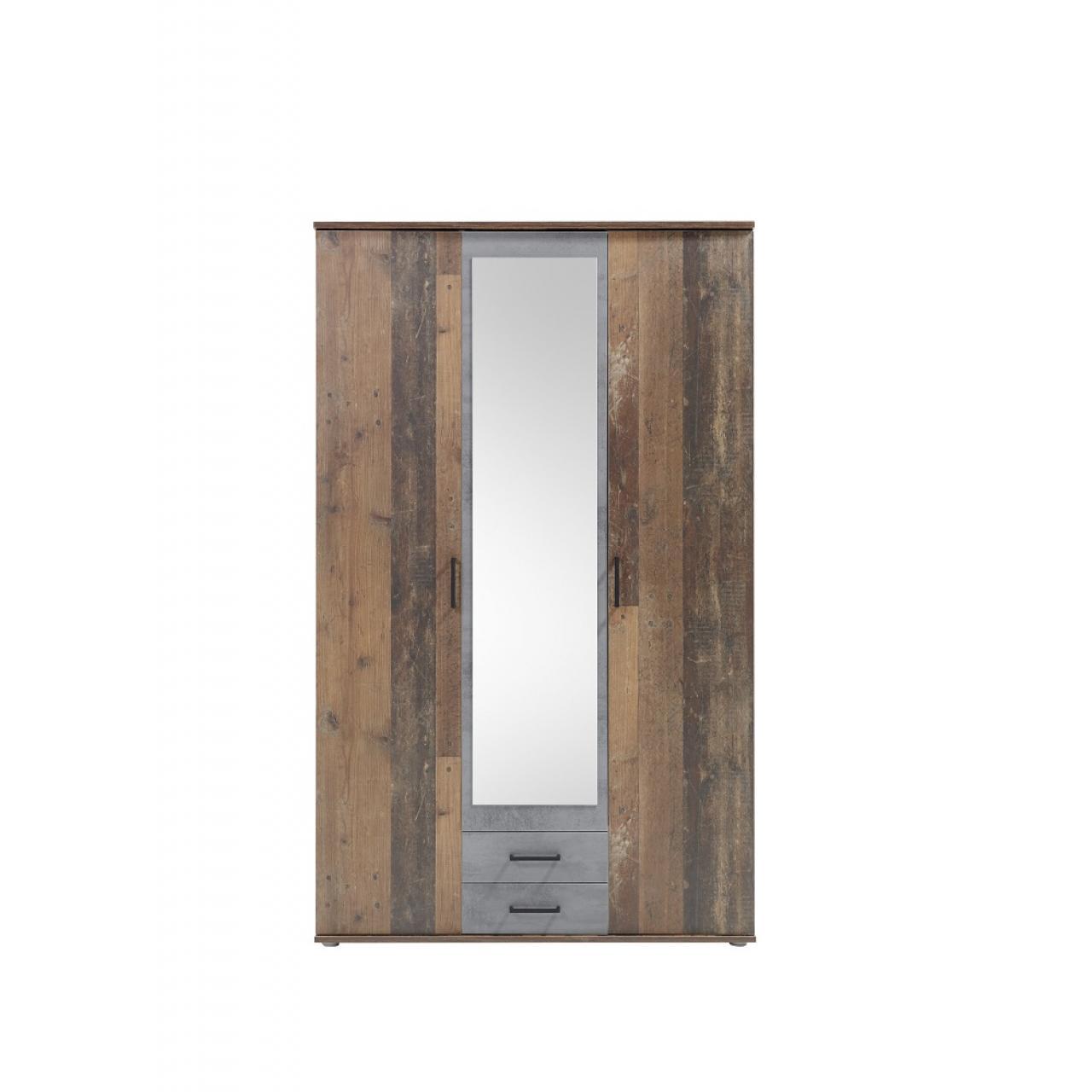 3 trg. Kleiderschrank Chicago Old Style Dunkel Beton Drehtürenschrank 2 Schubladen Spiegeltür