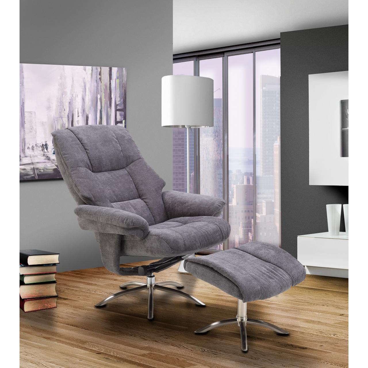 Relaxsessel FM-440 grau drehbar inklusive Hocker Fernsehsessel Kinosessel