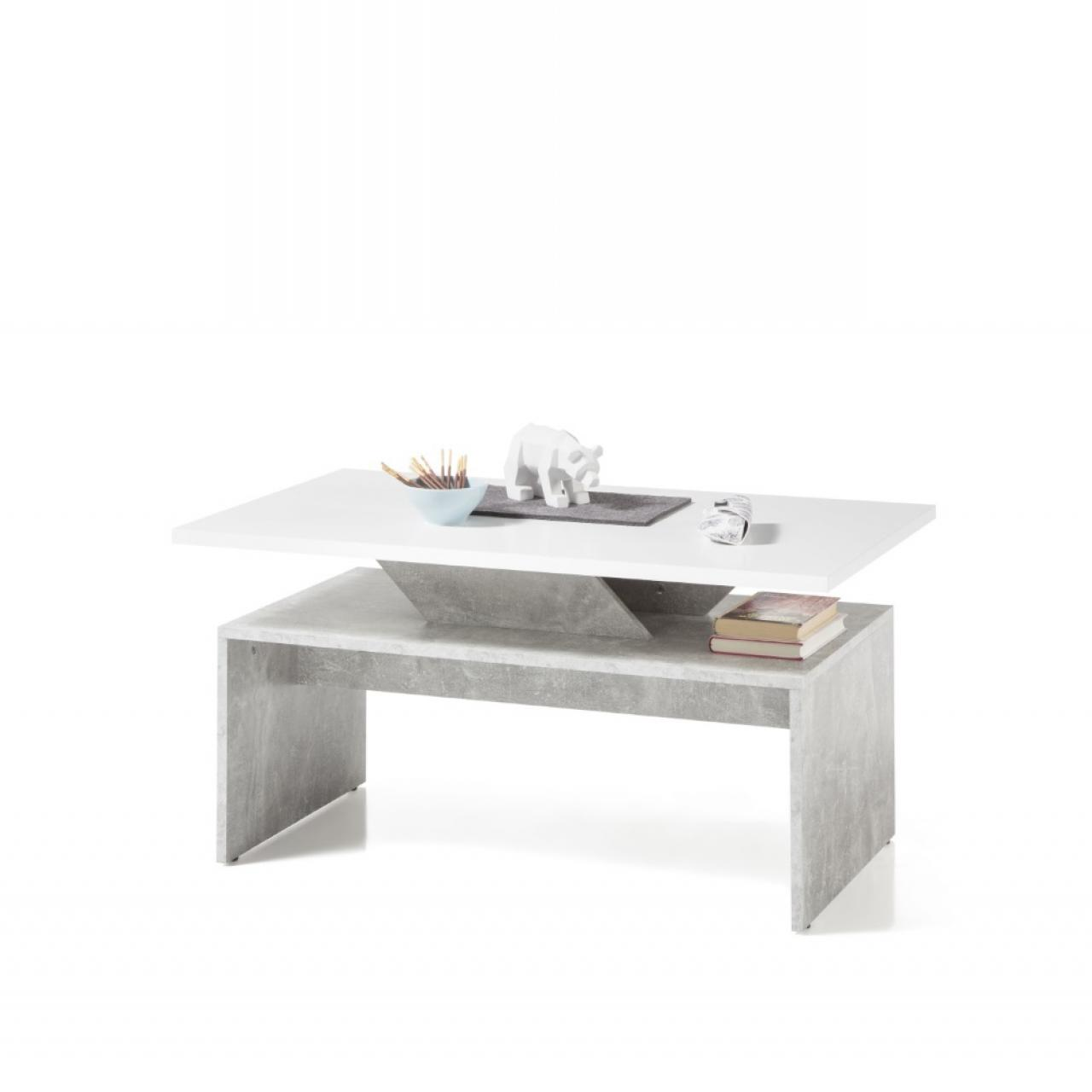 Couchtisch Allegra Beton Weiß 100x60 cm MDF