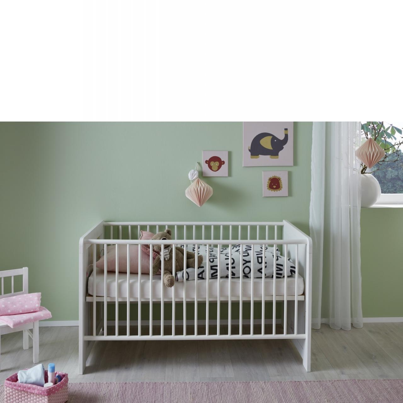 Kinderbett Joshua Baby - Pinie Weiß/Holzplankenoptik