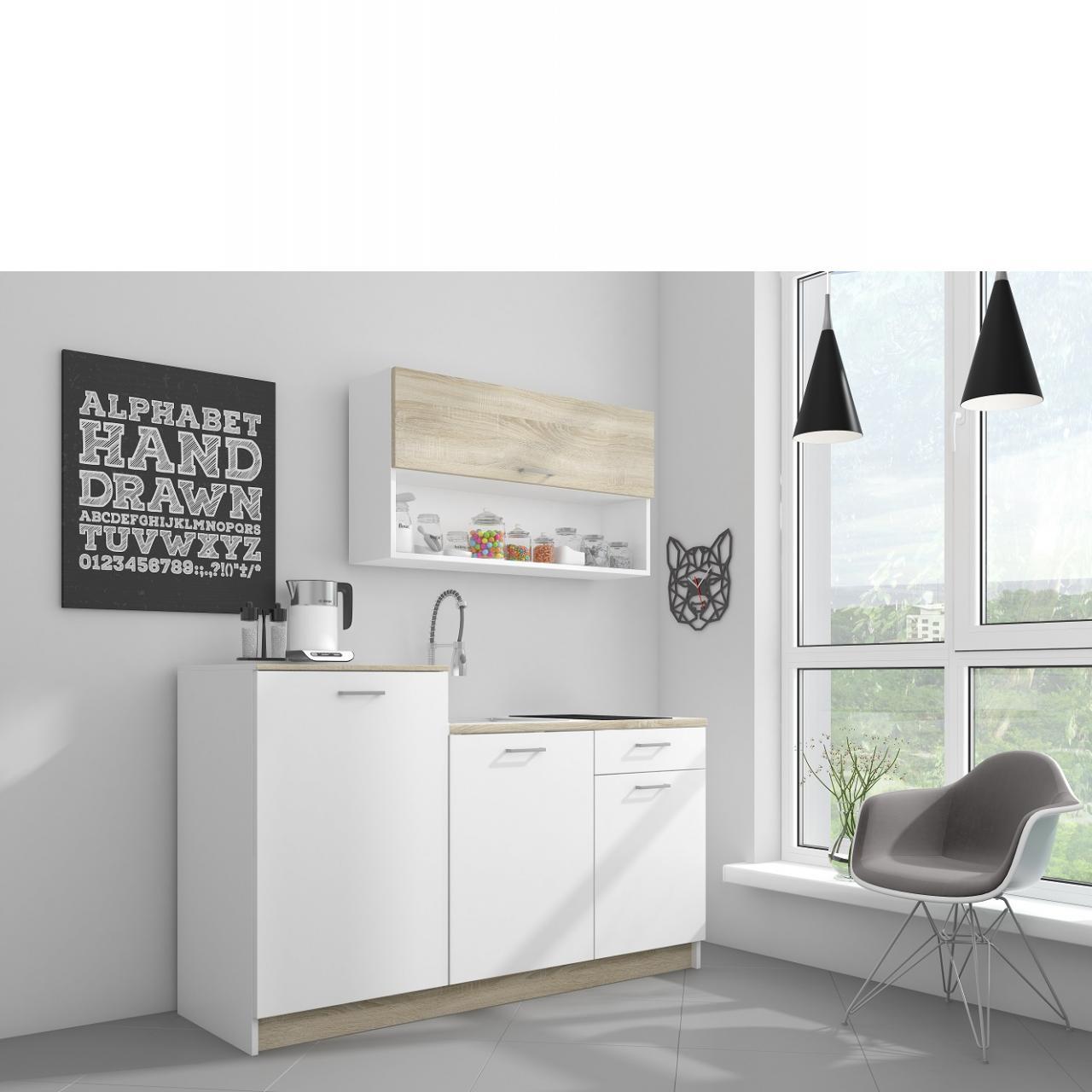 Küche Route Single Sonoma Eiche Nb. Matt Weiß Matt Spanplatte ohne Geräte