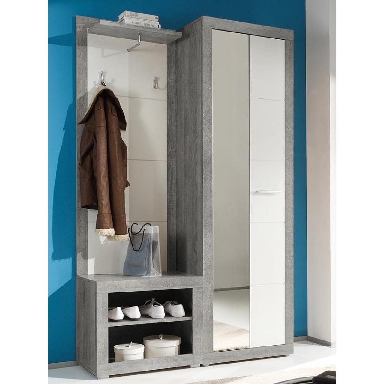 Garderobe Stone Kompaktgarderobe Flurgarderobe Spiegel Beton Weiß Wandgarderobe