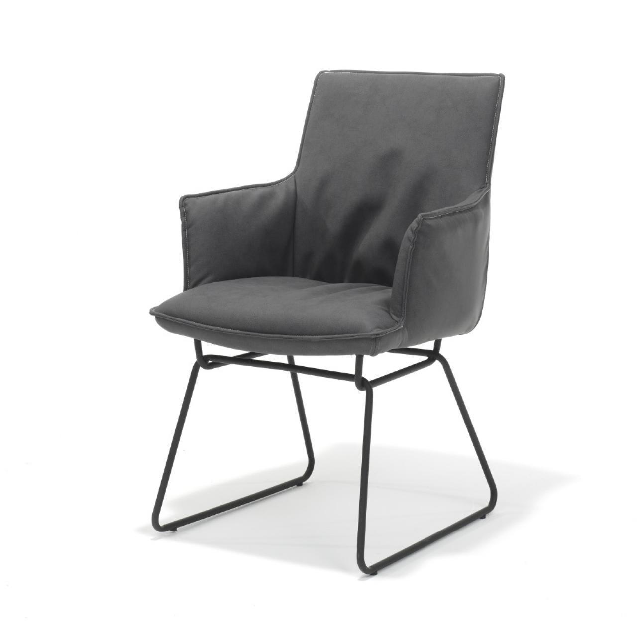 Esszimmerstuhl Flair mit Armlehne in anthrazit und schwarzen Gestell Stuhl Küchenstuhl