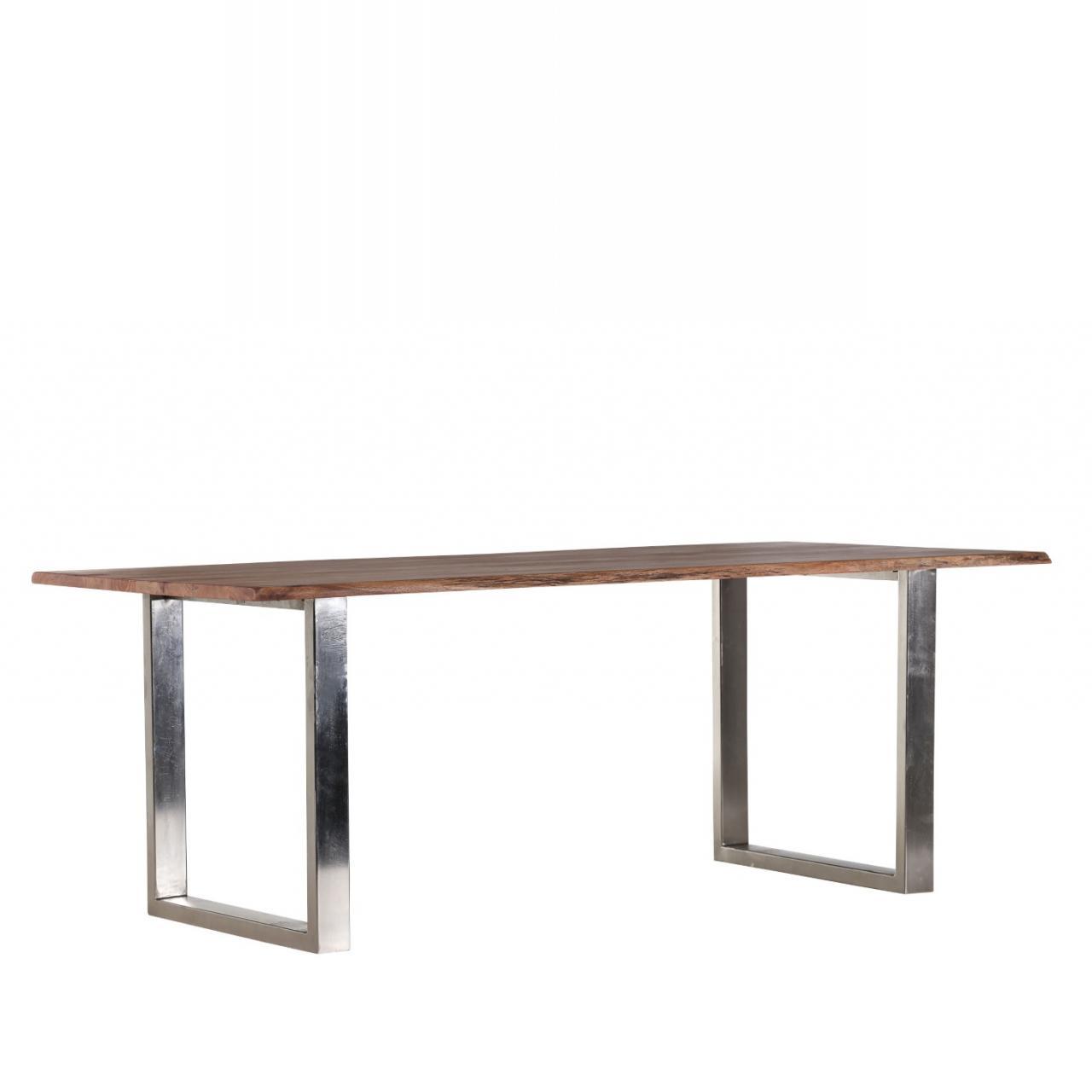 Esstisch Edge 200 x 100 cm Akazie Massivholz Küchentisch U-Form Beine