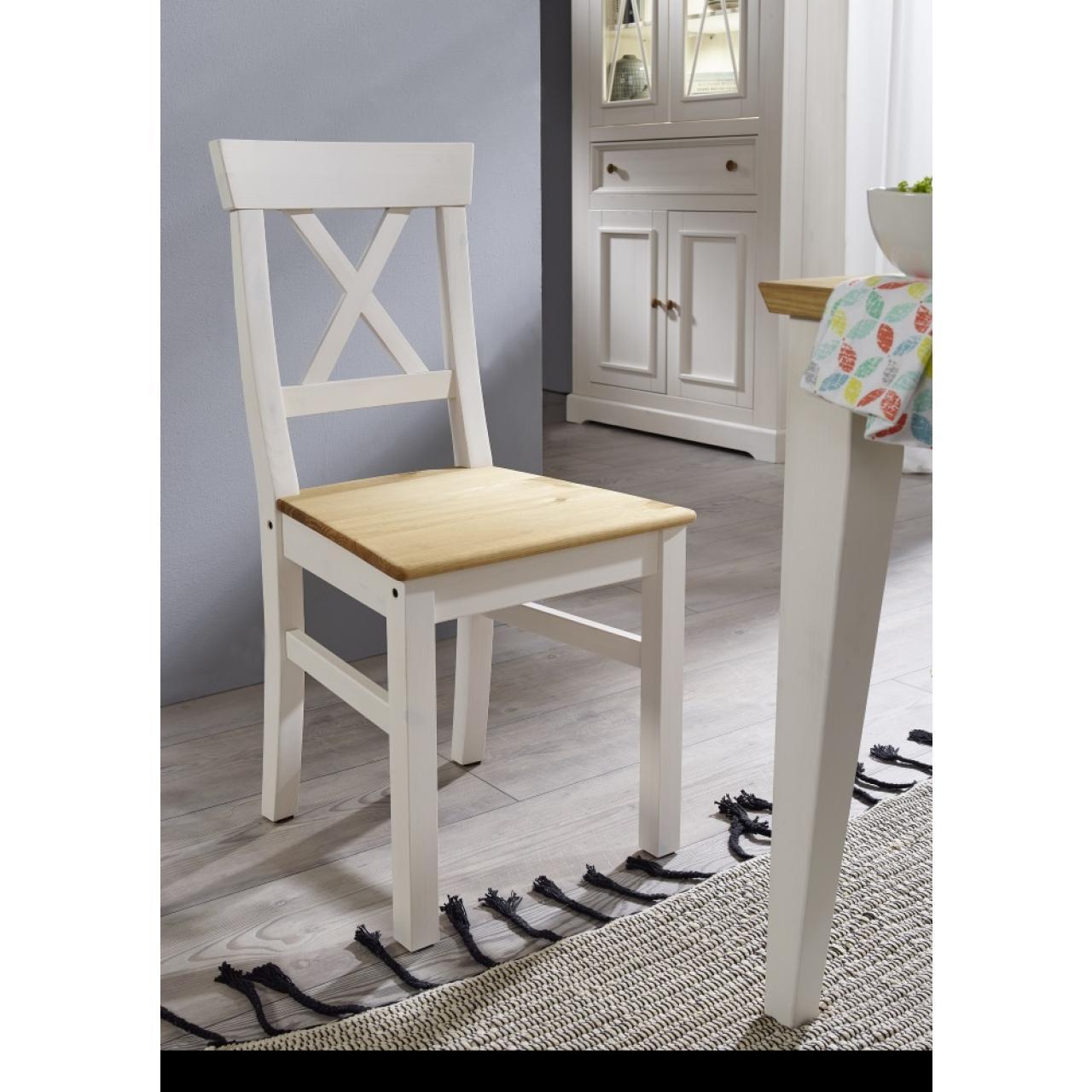 Stuhl WZ-0133 Weiß Eichenfarbig Kiefer Massiv Küchenstuhl Esszimmer