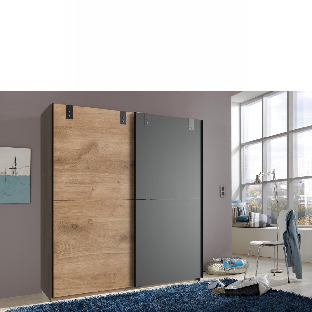 Schwebetürenschrank Cardiff Schlafzimmer Schrank Kleiderschrank Mit Kleiderstange
