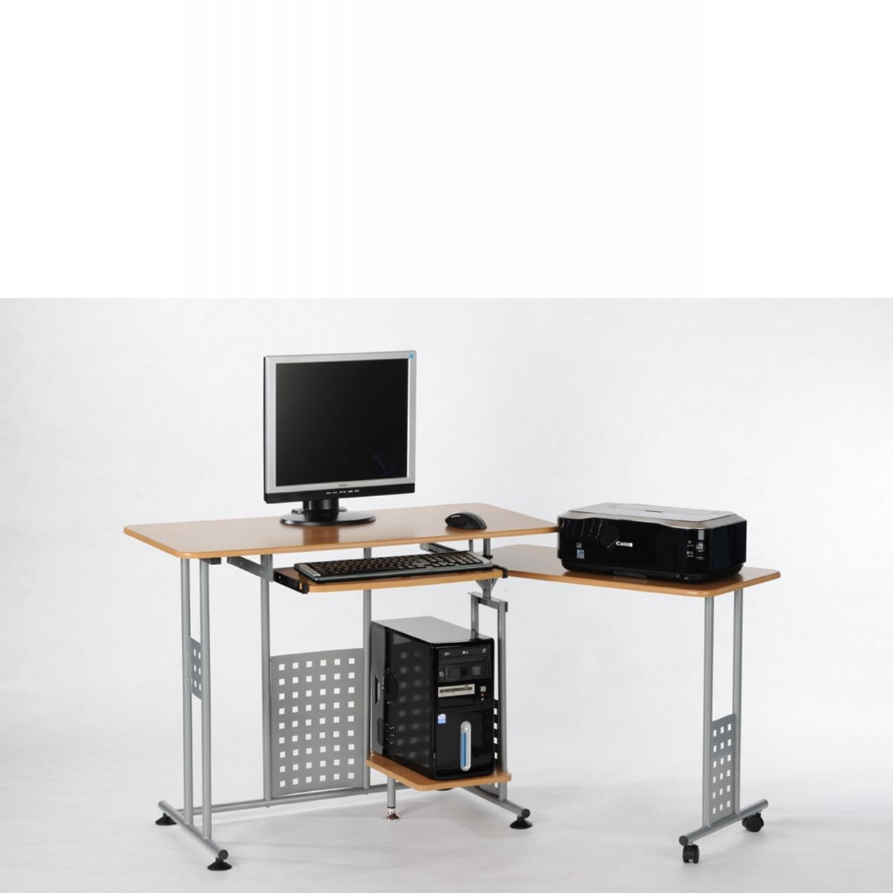 Computertisch Marc - Buche/silber
