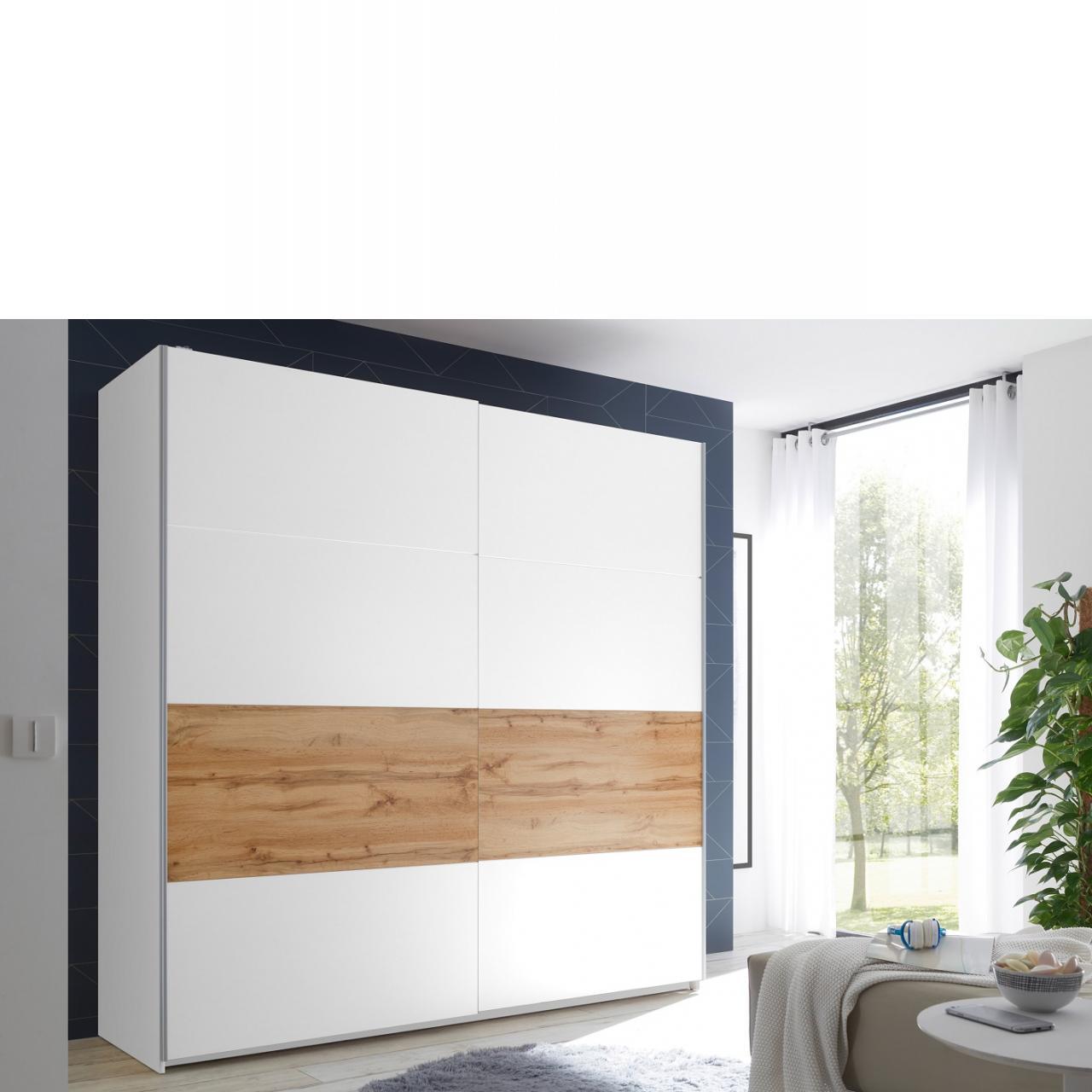 Schwebetürenschrank Medina 2-türig Weiß Wildeiche Kleiderschrank Schlafzimmerschrank