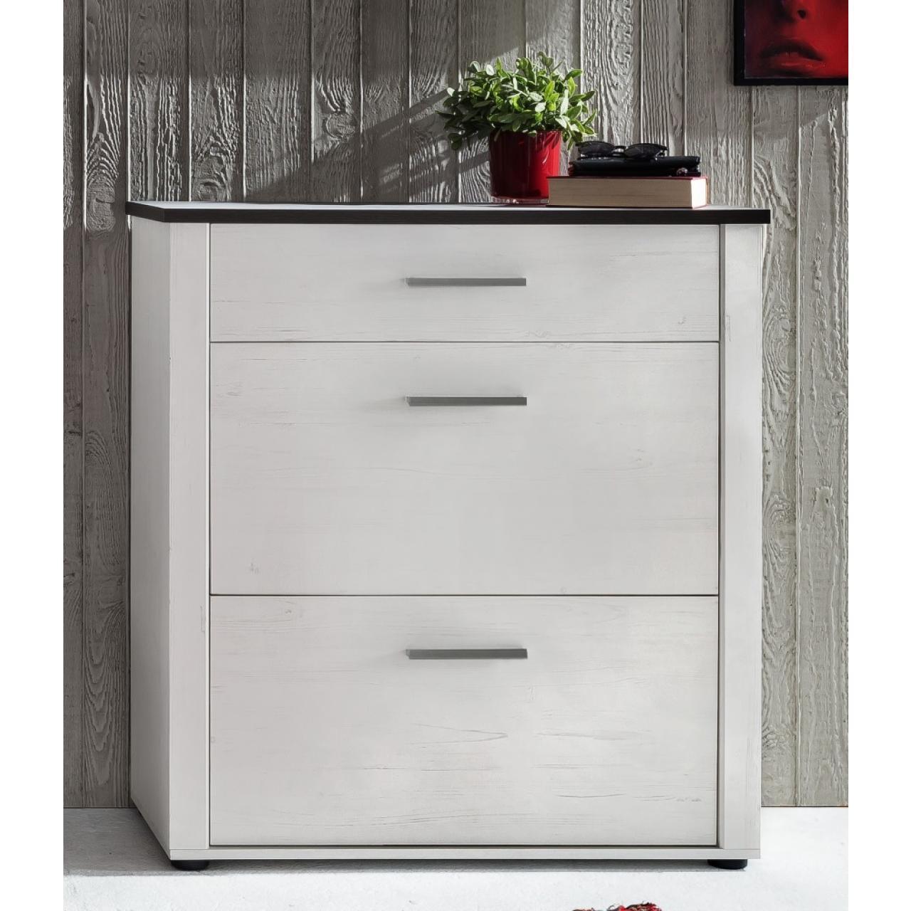 Garderobenschuhkipper Dakota - Weiß mit Absetzungen in dunkelbraun