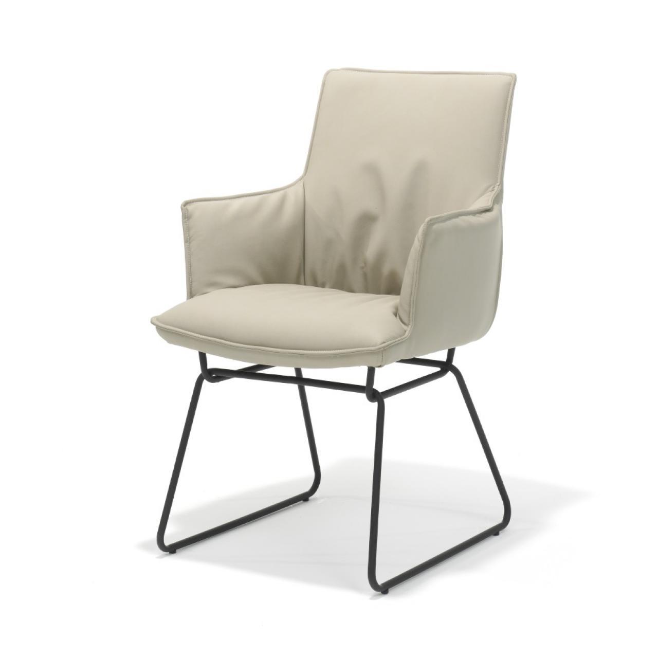 Esszimmerstuhl Flair mit Armlehne in beige und schwarzen Gestell Stuhl Küchenstuhl