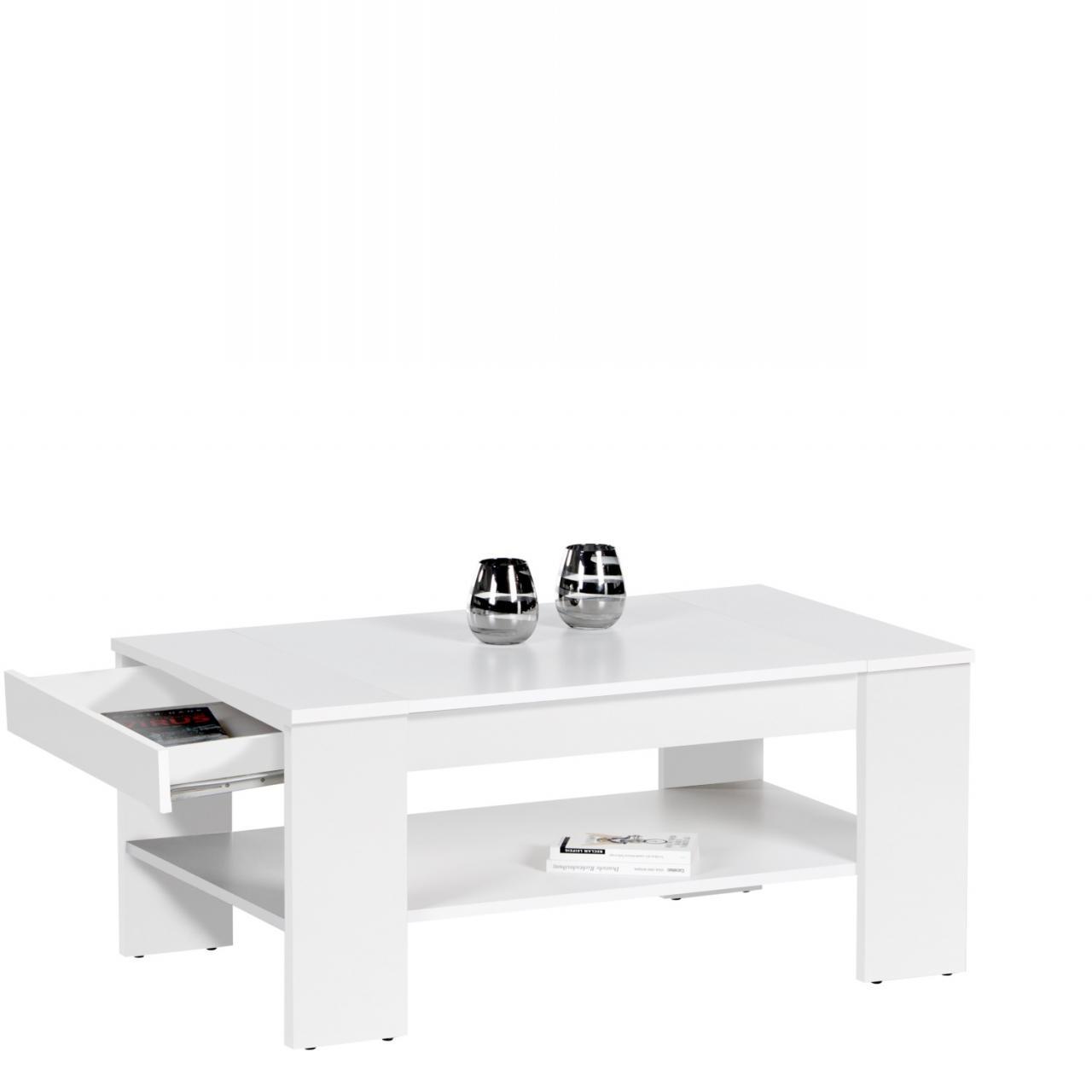 Couchtisch Finley Plus weiß mit Schubkasten Wohnzimmertisch Stubentisch Tisch