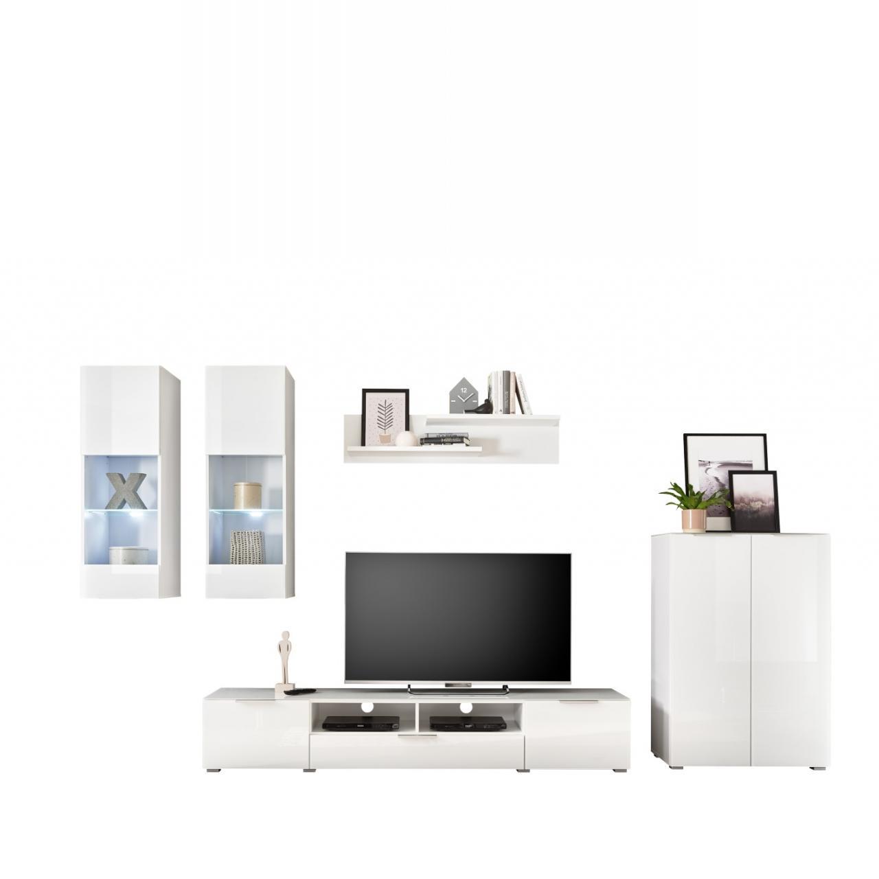 Anbauwand Marseille Opti-Weiß Weiß Lackiert inkl. Beleuchtung 5-teilig Wohnwand