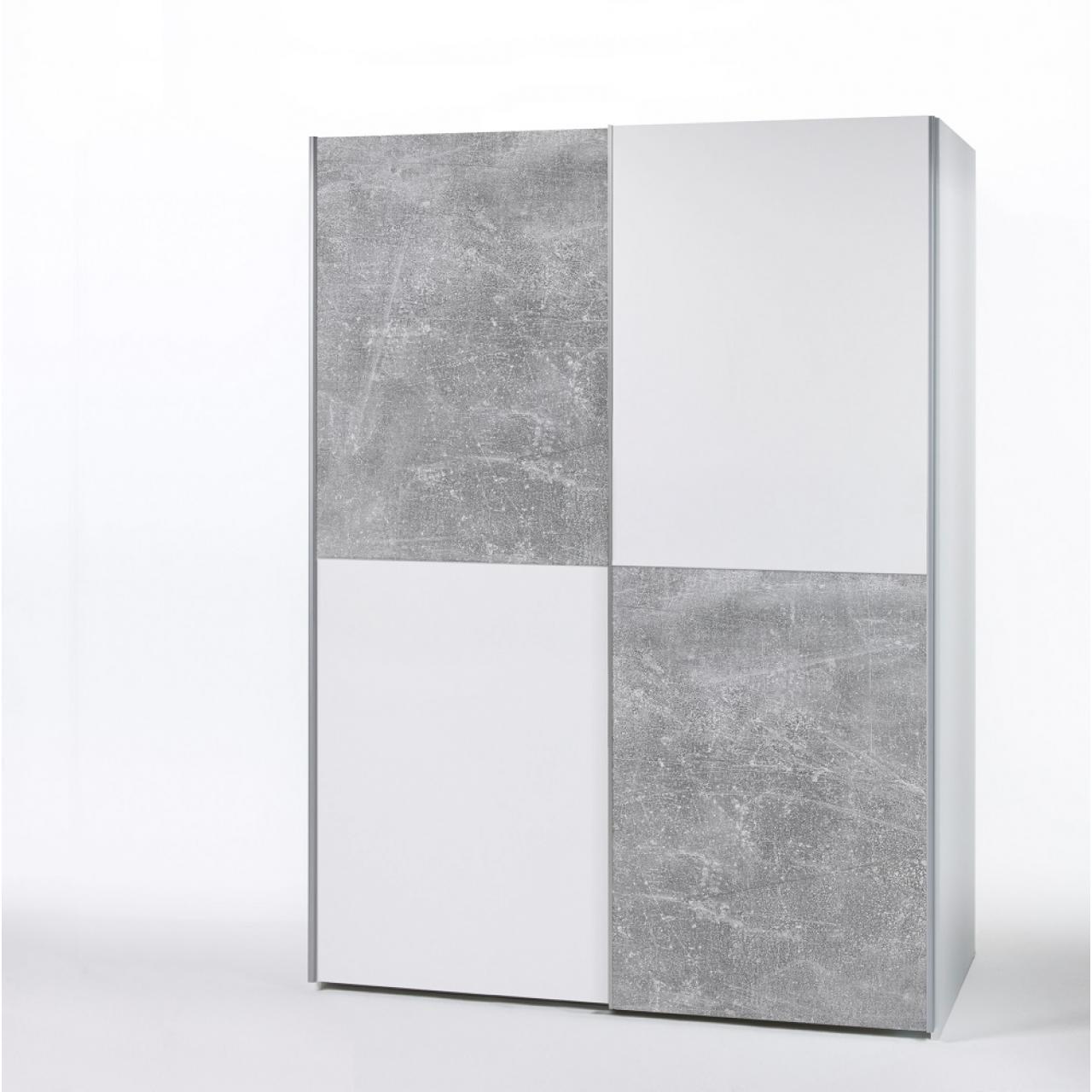 Schwebetürenschrank Puls Weiß Beton 2-türig Kleiderschrank MDF Dekorfolie