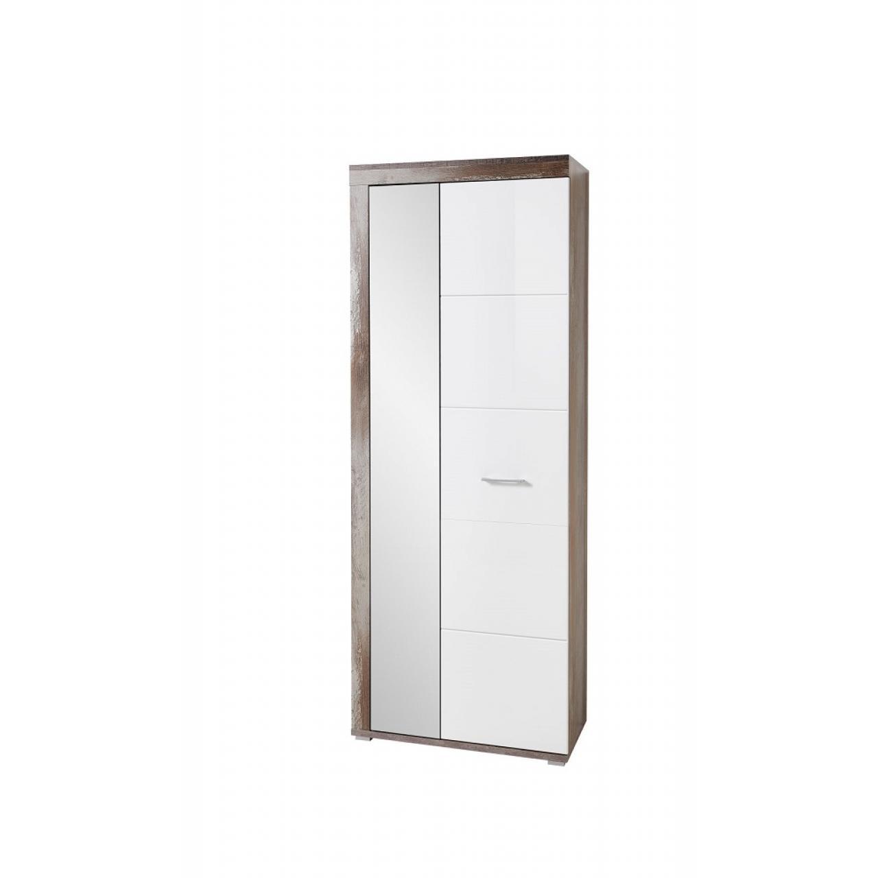 Garderobenschrank Crown-X Weiß Hochglanz Driftwood Nb. Flur Diele